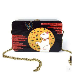 Handmade Hand painted bag Women Wooden Shoulder Bag  cat butterfly pattern wood box clutch bag Day Clutches Purse high quality