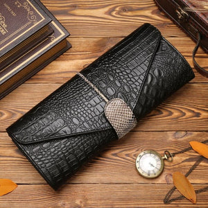Genuine Leather Clutch  Crocodile Style Evening Bag