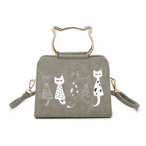 Amarte PU Synth Scrub Leather Shoulder Cute Cartoon Cats Printed Small Crossbody Bags for Girl
