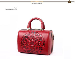 Trunk Style Genuine Leather Deep Embossed Shoulder Handbag