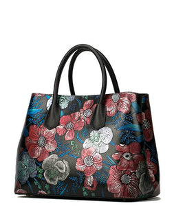 Superior Cowhide Genuine Leather Tote Women Handbags Rose Flower Luxury Bag