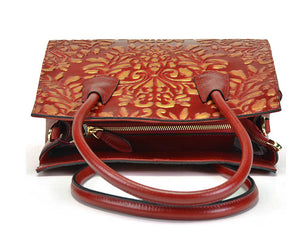 Polyester Zipper Soft Genuine Leather Handbags Retro Cowhide Luxury Bags