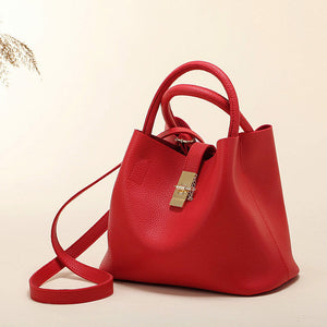 Classic Functional PU Synth Leather High Diagonal Cross Tote Style Handbag