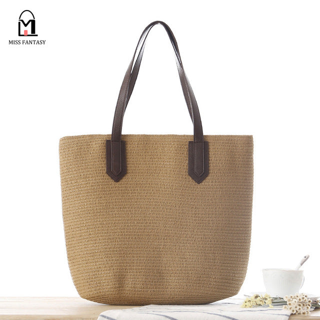 07f6e8b163956 ... European Style Straw Beach Bags Straw Tote Handbag PU Leather Handle ...