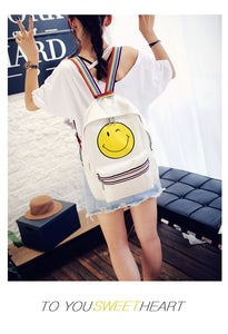 Smiling Face Print With Colorful Trim and Straps Nylon Backpack
