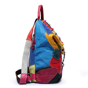 Patchwork Stitch Creative Multi/Black Genuine Leather Fashion Backpack