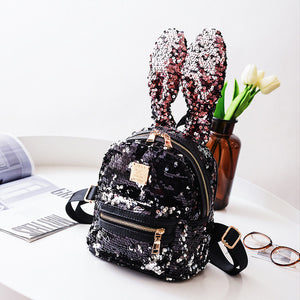 Rabbit Ears Sequins Backpack Fashionista Small Backpack