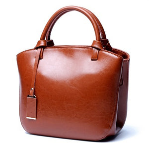 Genuine Oil Wax Leather Handbag Totes Style Fashion