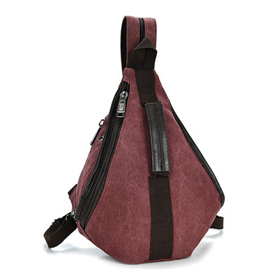 Triangle Canvas Backpack Casual Retro Vintage Chest Bag Shoulder Backpack Crossbody