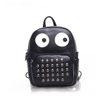 Emotion Faces Rivet PU Synth Leather Backpack