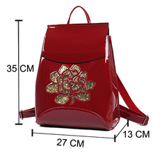 Shiny Flower Design Patent Synth leather backpack