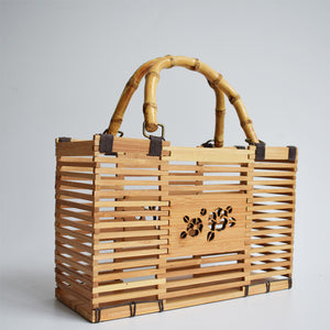 Unique Design Bamboo Handmade hollow out Basket Handbag
