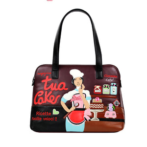 Italian Cakes Kitchen Art Theme Shoulder Handbag