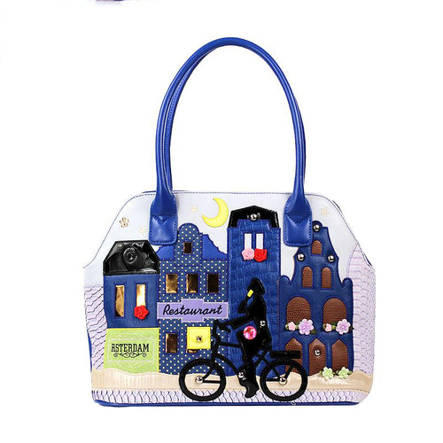 City and Bicycle Amsterdam Night Art Style Handbag