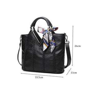 European And American Style Bow Sequined Linen Lock Soft Women Shoulder Handbag