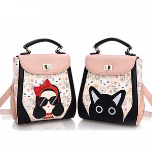 Stylish Girl Bow Glasses Cat PU Synth Leather Fashion Backpack