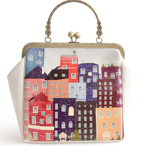 Colorful House Artistic Metal Frame Mouth Gold Crossbody Shoulder Handbags