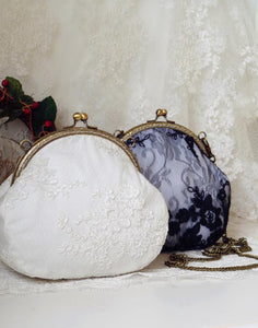 Vintage Retro  Beautiful Elegant Floral Lace Embroidered Antique Style Metal Clutch Crossbody Bag