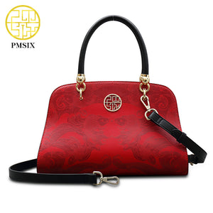 Pmsix Split Leather Bag Red Koi Print Shoulder Handbag