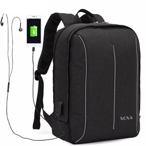 Minimal Pocket Travel Business College Portable USB Port Backpack