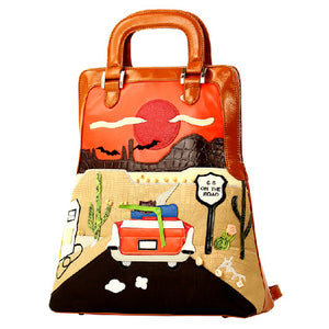 Road 66 Colorful Desert Art Styled Handbag Backpack