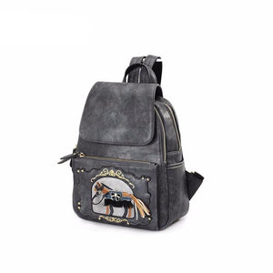 Vintage Horse Retro Patchwork Fashion Ladies Small Backpack