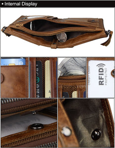 Fashion Genuine Leather Compact Double Zipper Unisex Bifold Wallet w/Coin Purse & Card Holder