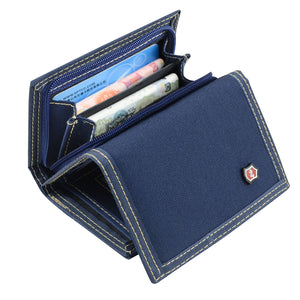 Multipocket Unisex Casual Everyday or Travel Trifold Canvas Wallet