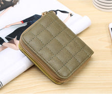 Plaid Stitched Style Solid Color Small 2-fold Wallet