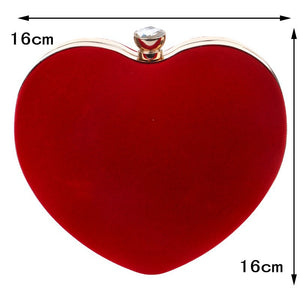 Heart Shaped Diamonds Women Evening Bags Red/Black Chain Shoulder Purse Day Clutches Evening  Bags For Party Wedding