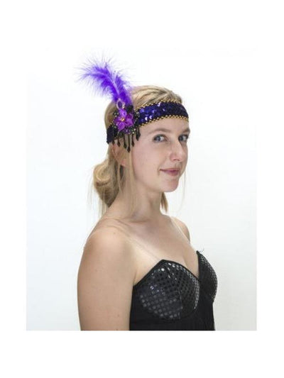 1920s Great Gatsby Purple Feather Sequin Headpiece-Hats and Headwear-Jokers Costume Hire and Sales Mega Store