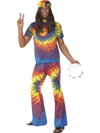 1960s Tie Dye Top and Flared Trousers-Costumes - Mens-Jokers Costume Hire and Sales Mega Store
