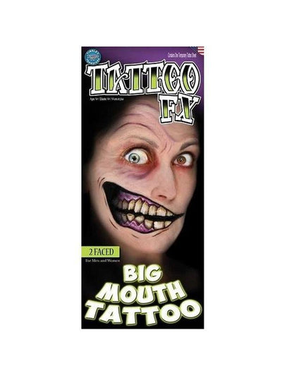 2 Faced Big Mouth-Make up and Special FX-Jokers Costume Hire and Sales Mega Store