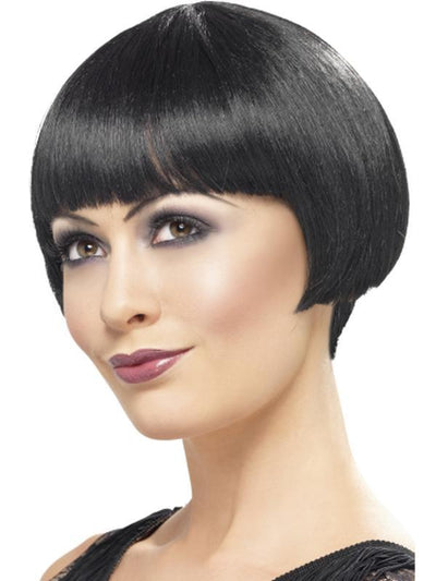 20s Flapper Bob Wig - Black-Wigs-Jokers Costume Hire and Sales Mega Store