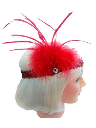 20s Flapper Headband - Red-Hats and Headwear-Jokers Costume Hire and Sales Mega Store
