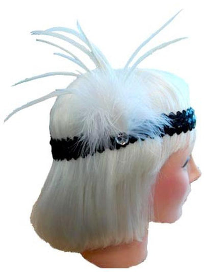20s Flapper Headband - White/Black-Jokers Costume Mega Store
