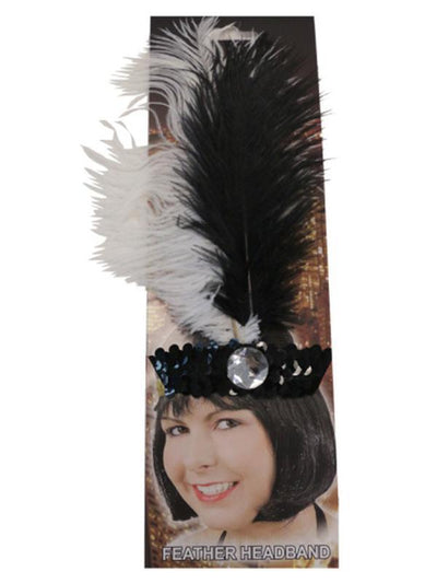 20s Flapper Headdband - Black/White-Hats and Headwear-Jokers Costume Hire and Sales Mega Store