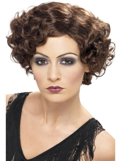 20s Flirty Flapper Wig - Brown-Wigs-Jokers Costume Hire and Sales Mega Store