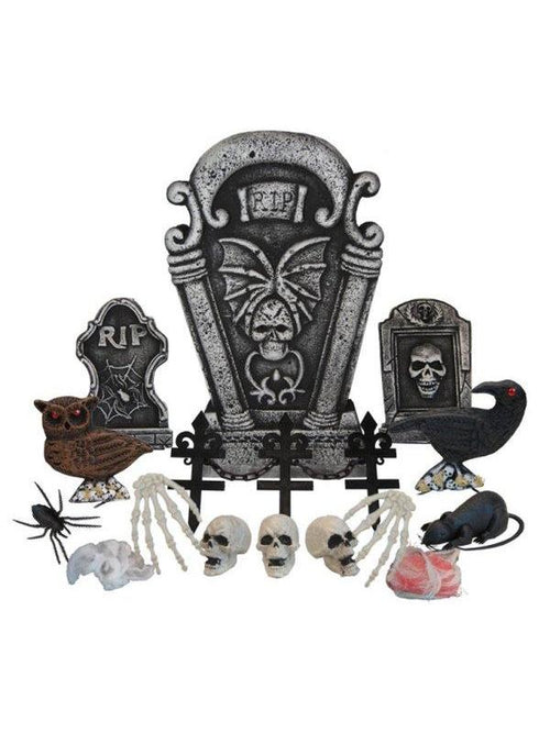 24pc Tombstone Deco Set - RIP-Halloween Props and Decorations-Jokers Costume Hire and Sales Mega Store