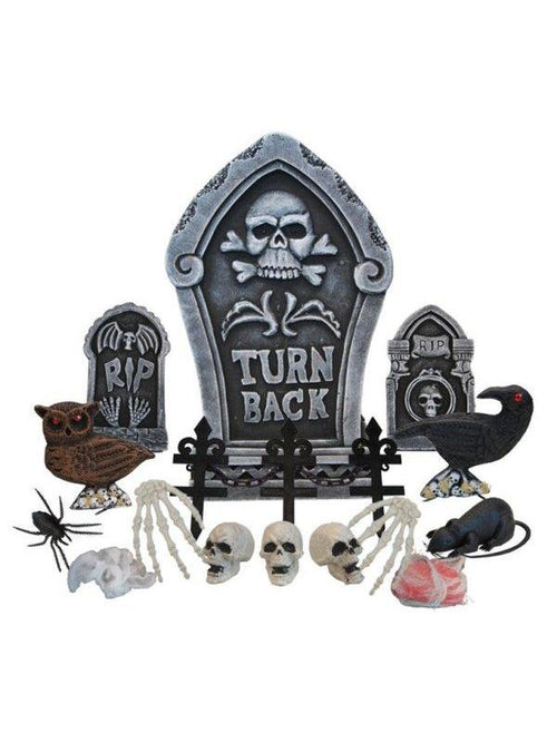 24pc Tombstone Deco Set - Turn Back-Halloween Props and Decorations-Jokers Costume Hire and Sales Mega Store