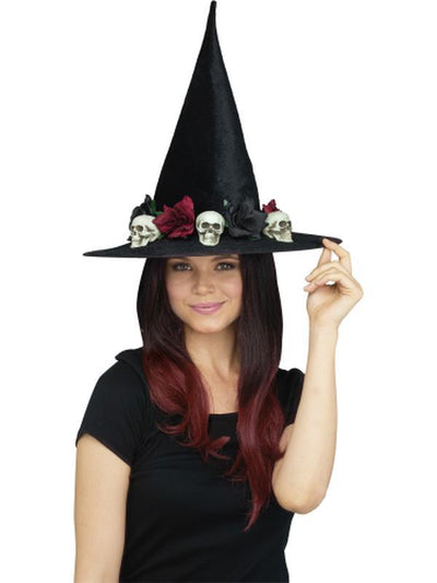 3D Wicked Witch Hat - Skulls & Roses-Hats and Headwear-Jokers Costume Hire and Sales Mega Store