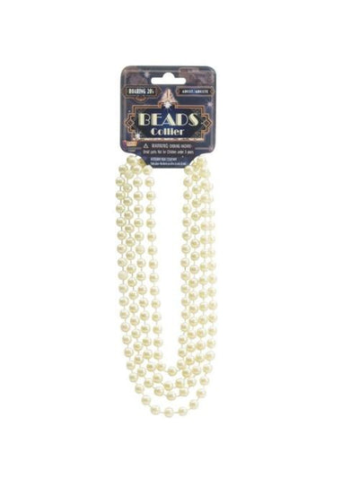 Pearl Beads Long Necklace - Beige-Costume Accessories-Jokers Costume Mega Store