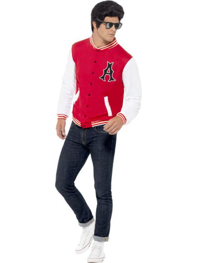 50s College Jock Letterman Jacket-Costumes - Mens-Jokers Costume Hire and Sales Mega Store