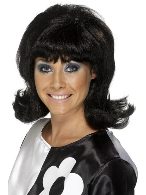 60s Flick-Up Wig - Black-Wigs-Jokers Costume Hire and Sales Mega Store