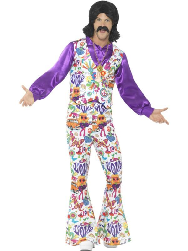 60s Groovy Hippie Costume-Costumes - Mens-Jokers Costume Hire and Sales Mega Store