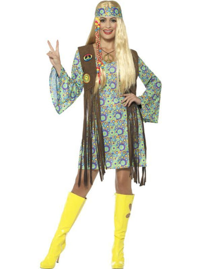 60s Hippie Chick Costume, with Dress-Costumes - Women-Jokers Costume Hire and Sales Mega Store