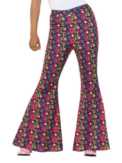60s Psychedelic CND Flared Trousers-Costumes - Women-Jokers Costume Hire and Sales Mega Store