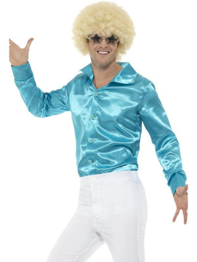 60s Shirt, Blue-Costumes - Mens-Jokers Costume Hire and Sales Mega Store