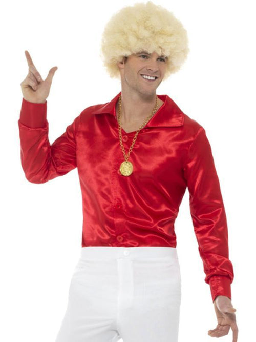 60s Shirt, Red-Costumes - Mens-Jokers Costume Hire and Sales Mega Store