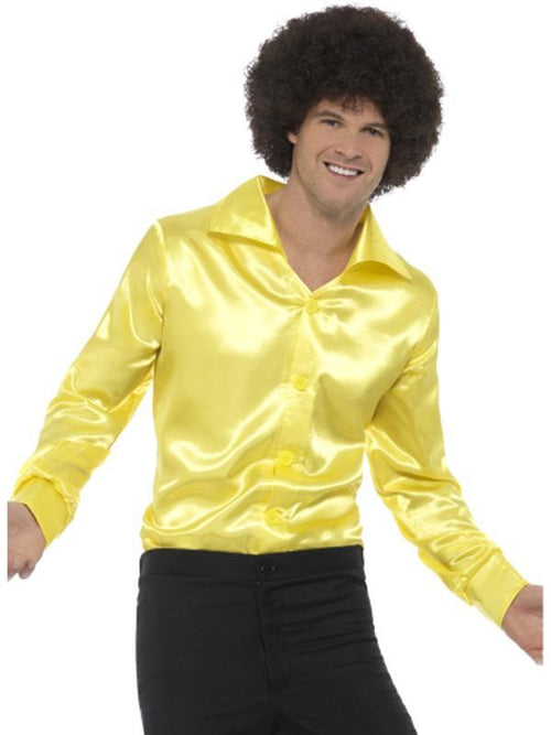 60s Shirt, Yellow-Costumes - Mens-Jokers Costume Hire and Sales Mega Store
